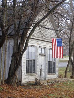 American flag and Old building 5 notecards
