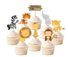 Zoo animal cupcake toppers animal print by MyHeartnSoulBoutique
