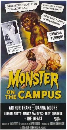 vintage horror movie poster: monster on the campus 1958