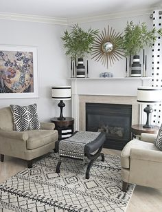 Fireplace update with a neutral black and white palette