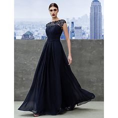 TS+Couture®+Formal+Evening+/+Black+Tie+Gala+Dress+A-line+Bateau+Floor-length+Georgette+with+Draping+/+Lace+–+AUD+$+184.03