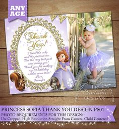 SOFIA THE FIRST THANK YOU CARDS  -  Thank your Sofia The First party guests with this magical and gorgeous Sofia the First thank you card! This Soifa thank you card comes with or without a photo and matching invitations and envelope mailing lables / stickers. These cards come in 4x6 or 5x7 and are sweet and as precious as they get with the pixie stars and gold/silver accents. What a great last impression for the royal celebration! CUSTOM PRINTABLE FILES