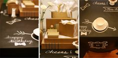 brown kraft products+lace to wrap presents and chalkboard oilcloth tablecloth