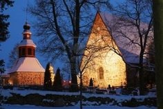 christmas night scenery in Finland,