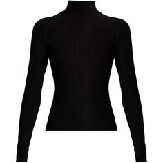 Acne Studios Ida roll-neck ribbed-knit sweater found on Polyvore featuring tops, sweaters, black, shirts, long sleeve stretch top, stretch shirt, stretch top, roll neck sweater and long sleeve shirts