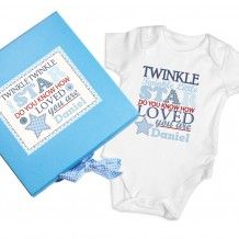 Personalise this Twinkle Boys Blue Gift Box & Baby Vest with any name up to 12 characters.'Twinkle Twinkle little star do you know how loved you are' is fixed text.The name will appear on the box and baby vest.The box measures x x Pink Gift Box, Blue Gift, Pink Gifts, Baby Gift Sets, New Baby Gifts, Gifts For Boys, Star Gift, Baby Presents, Baby Christening