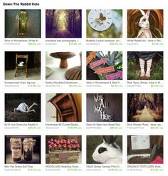 #EtsyTreasury Time! Alice in Wonderland home decor ideas include tea party printable arrow signs by Glitter Ink Party Printables, We're All Mad Here metal wall art by Inspire Metals and aquariann's White Rabbit art magnet.