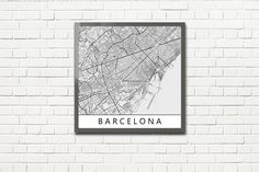 Minimalist Map Print of Barcelona, Spain (fits square frame)