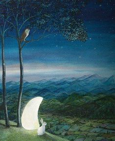 When the Moon Came Down Feridun Oral, 2014 Art And Illustration, Fantasy Kunst, Fantasy Art, Lapin Art, Rabbit Art, Bunny Art, Moon Art, Whimsical Art, Stars And Moon