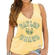 Women's vintage yellow Baylor Bears  V-neck tank // This looks so comfy. And of course it reps Baylor! #SicEm