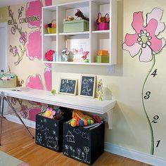 Cute yellow & pink play area in girl's nursery room! Chalkboard storage boxes, floating desk and open shelves! Desk For Girls Room, Girl Room, Kid Desk, Desk Set, Sarah Richardson, Bedroom Desk, Girls Bedroom, Toddler Rooms, Kid Rooms