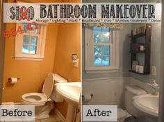 Rental Bathroom Before After Makeover With Dark Wall Paint - How to redo my bathroom