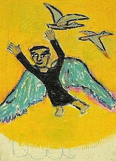 ANGEL-IN-THE-SKY-t-Marie-Nolan-Outsider-RAW-Folk-Art-Brut-Painting-nAIVE