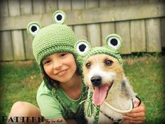 Funny!  Ravelry: Frog Set for your Kid and your Pet - Earflap Hats - Crochet PDF Pattern pattern by Ira Rott