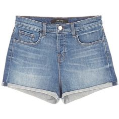 J Brand 'Gracie' high rise roll cuff denim shorts ($160) ❤ liked on Polyvore featuring shorts, bottoms, blue, vintage jean shorts, denim shorts, blue high waisted shorts, high rise shorts and vintage high waisted shorts