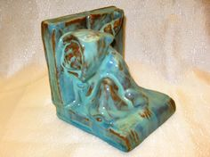 Catalina Island Pottery #55 Monk Bookend in Seafoam - Also made by other potteries - Which came first? Catalina's came out some time before 12-31-1932 - It's mate faced forward. If you have one, please contact.