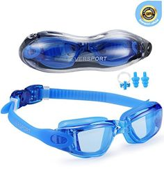 Eversport Swimming Goggles Clear Lens Anti Fog UV Protection no Leaking with Protection Case Adjustable Straps for Men Women Adult Youth Kids Children Blue -- To view further for this item, visit the image link.Note:It is affiliate link to Amazon.