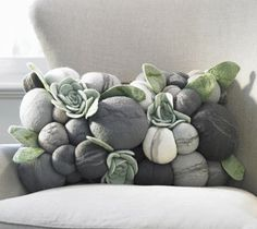 """Inspiration only - """"Rock"""" Pillow made with felt. No instructions"""