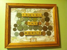 Travel Craft w/ map, scrabble tiles, and foreign coins