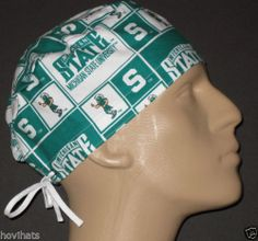 MICHIGAN STATE SQUARES SCRUB HAT NCAA   FREE USA SHIPPING   CUSTOM SIZING Surgical  Caps 89ad74349d2