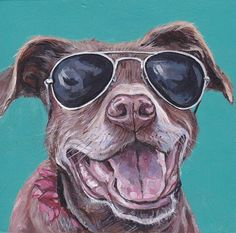 8x10 inches $175 CAD, This guy is ready for summer, for more pet portraits please visit letitiascrafts.etsy.com  |  #custompetportraits #petportrait #dogportrait #pets #dogs #summer #sunglasses #cooldog #petpopart #popart