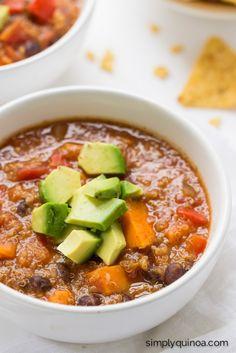 Sweet Potato & Black Bean Quinoa Chili - made in a slow cooker!   recipe on simplyquinoa.com