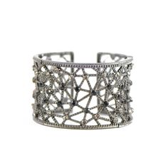 Melita's Spider Web Cuff Bracelet ❤ liked on Polyvore featuring jewelry, bracelets, accessories, oxidised jewellery, antique jewelry, beaded bangles, rhinestone cuff bracelet and hinged cuff bracelet
