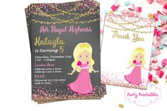 The 43 best princess theme party images on pinterest party themes princess birthday invitation you print princess theme invitation gold and pink princess invitation royal highness invitation filmwisefo