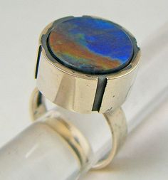Modernist Jewelry Kaunis Koru Spectrolite Sterling Ring - Finland