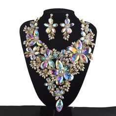 AB color Statement Jewelry sets Women Rhinestone crystal Pearl Big Flower Party Necklace earrings set Bridal Wedding Jewelry