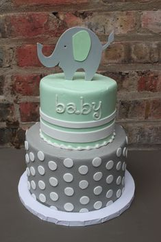 mint green and baby blue baby shower cake - Google Search