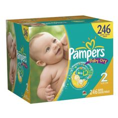 Pampers Baby Dry Diapers Economy Pack Plus Size 2 246 Count by Pampers -$47.19- Flexes for a snug and comfortable fit.Pampers has 3 layers of absorbency versus 2 in the other leading brand.Favorite Sesame Street characters on every diaper.Ultra absorb core for outstanding leakage protection.Ships in Certified Frustration-Free Packaging...
