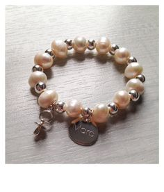 Adriana bracelet  freswater perals silver beads  by 1petitmoon