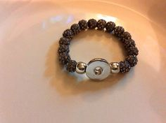 Gray Beaded Bracelet w/10 Free Snaps Interchangeable Jewelry Fits Ginger Snaps  | eBay