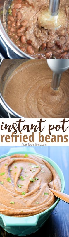 Instant Pot Refried Beans ~ creamy, flavorful, and effortless to make in the pressure cooker...a perfect side dish for all of your favorite Mexican recipes! | FiveHeartHome.com via @fivehearthome