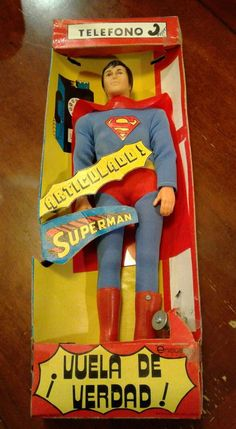 You are buying on the shown, real original mexican Superman. This is not the lili ledy Superman, this is the real Ensueno Flying Superman. There are alot of reproduced boxes floating around but this is not one of them. THIS BOX IS ALL ORIGINAL. I was told SUPERMAN FIGURE IS ALL ORIGINAL. One collector did tell me that he thought the cape might not be original. I'm sure as with the mego lili ledy figures there were variations, but I'm not sure if the cape was different on some figures....
