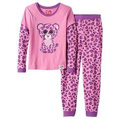 Girls 4-10 TY Beanie Boo's Glamour Thermal Mock-Layered Pajama Set