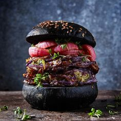 "2,087 Likes, 92 Comments - Martin Nordin (@martin_nordin) on Instagram: ""Purple potato and Brussels sprouts burger, with pickled red onions and garden cress in a coal…"""