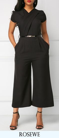 V Neck High Waist Black Jumpsuit.#Rosewe#jumpsuits#womensfashion
