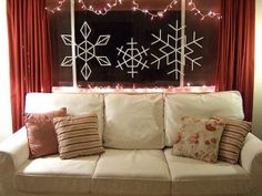 hang snowflakes in window