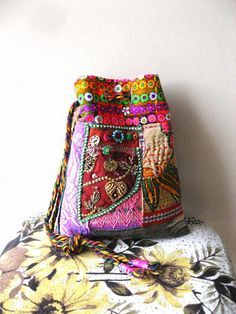 Mexicano Pouch Bag Vintage Fabric Neon Leather by AllThingsPretty, $95.00