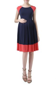 Kimi and Kai 'Andie' Colorblock Maternity Skater Dress available at #Nordstrom