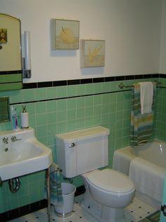 1950 Bathroom Tile | 1950s Charm, Updated, 1950s tile work, old fixtures, updated look ...