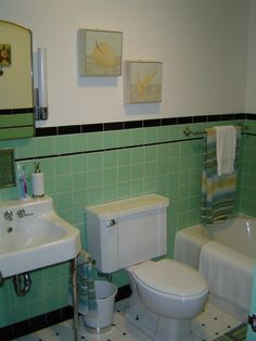 1950 Bathroom Tile | 1950s Charm, Updated, 1950s tile work, old fixtures, updated look ...