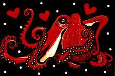 Cephalopod Love Octopus by PufferfishPress on Etsy
