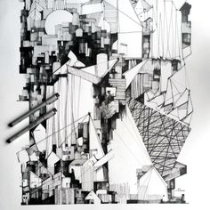 Architectural Illustration Kyle Henderson 2013 Plans Architecture, Paper Architecture, Architecture Sketchbook, Architecture Illustrations, Architecture Design, Abstract Drawings, Art Drawings, Construction, Map Painting