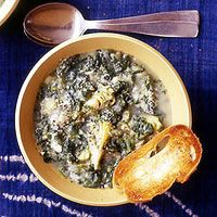 This is making my mouth water-ah!(Rachel Ray's Spinach,Artichoke, and Potatoe Soup