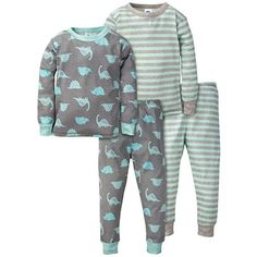 Gerber Baby Boys Toddler Organic 2 Pack 2-Piece Cotton Pjs