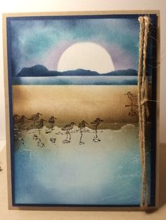 handmade card: Wetlands  by Sandy Mundy ... work of art created with sponging and stamps ... night time scene ... shore birds and rising moon ... Stampin' Up!
