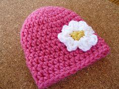Crocheted Beanie Hat Baby Girl Flower Hat by LittleMommaBoutique, $12.50